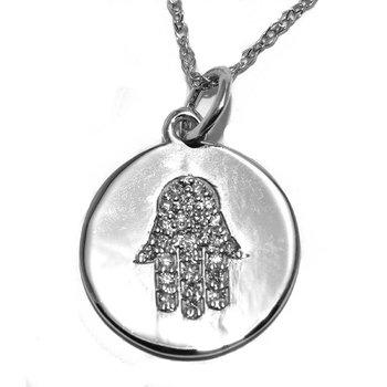 14K WG Hamsa and Diamond Pendant