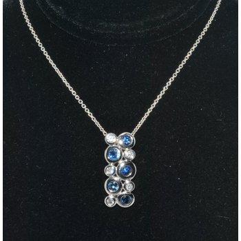 14K WG Diamond & Saph Bezel set pendant