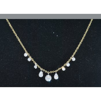 14K YG small circle pave set dia necklac