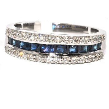 18K WG Saph & Dia Ring