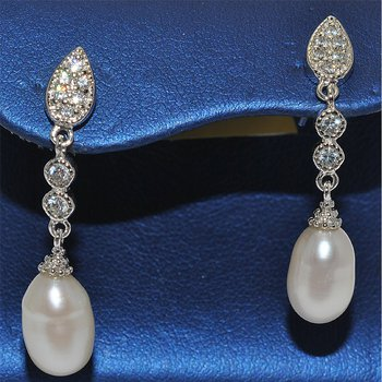 Silver/CZ Pearl Earrings