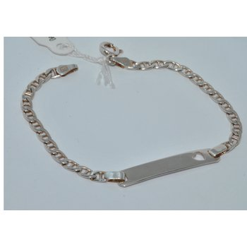 Silver ID Bracelet with heart Cut out.