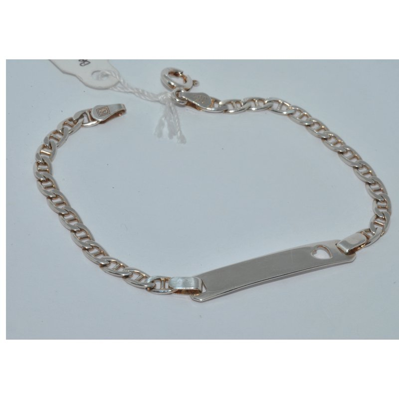 Windy City Signature Silver ID Bracelet with heart Cut out.