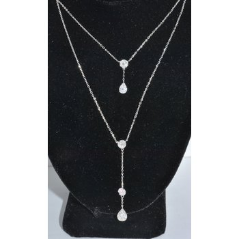 14K WG Diamond Custer Necklace