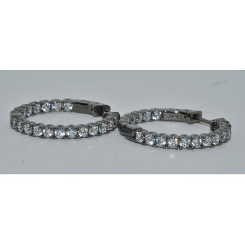 Silver Black plated CZ in & out Hoops