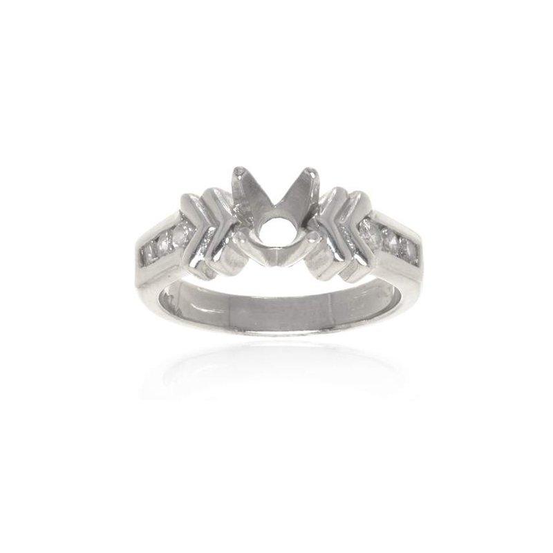 14K White Gold and Diamond Semi-Mount Engagement Ring