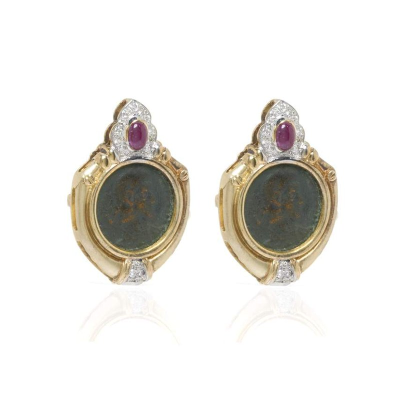 14K Yellow Gold Ruby Cabochon and Diamond Earrings