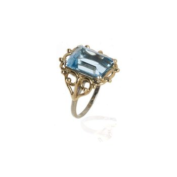14K Two-Tone Gold and Aquamarine Ring