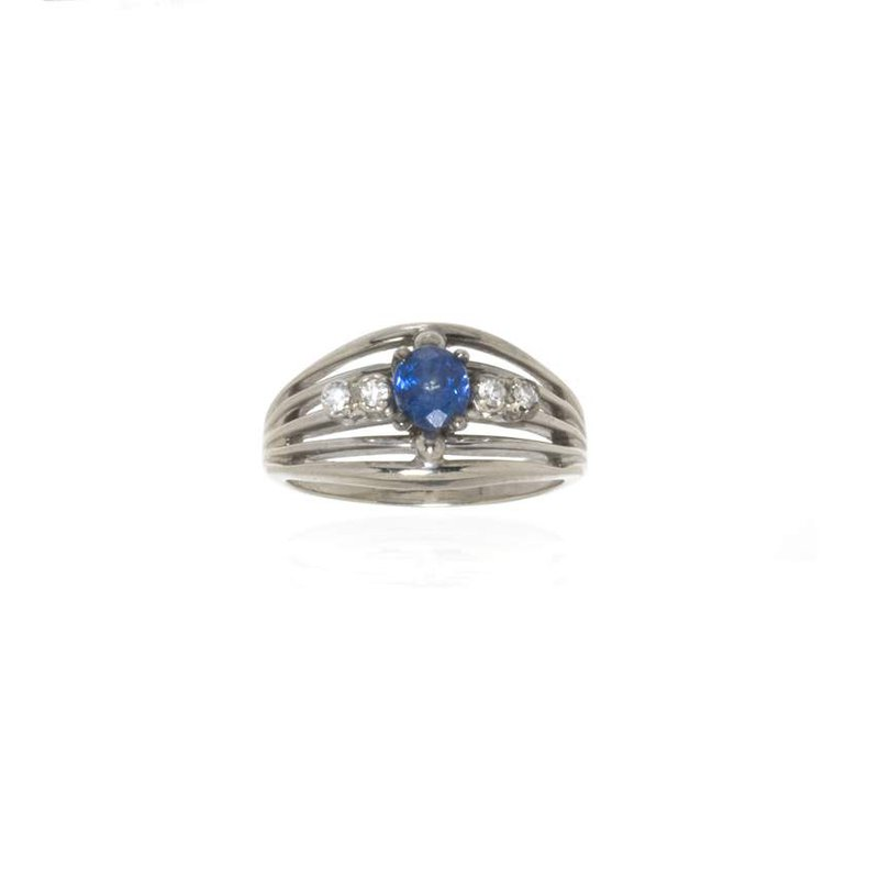 14K White Gold Diamond and Ceylon Sapphire Ring