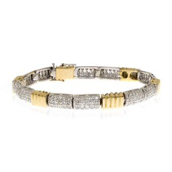 14K Two-Tone Gold Diamond and Bracelet