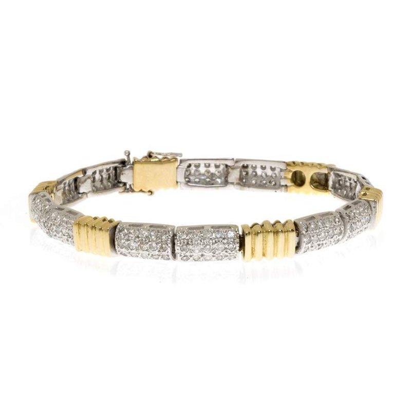 14K Two-Tone Gold Diamond and Bracelet