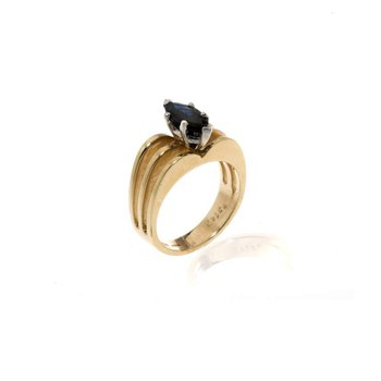 14K Two-Tone Gold and Sapphire Ring