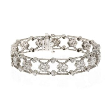 14K White Gold and Diamond Vintage Reproduction Bracelet