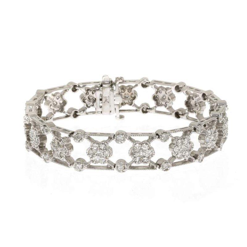 14K White Gold and Diamond Vintage Reproduction Bracelet