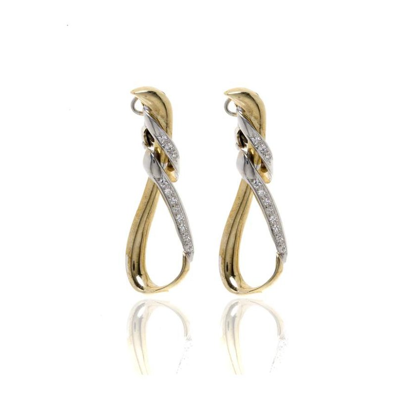 14K Two-Tone Gold and Diamond Earrings