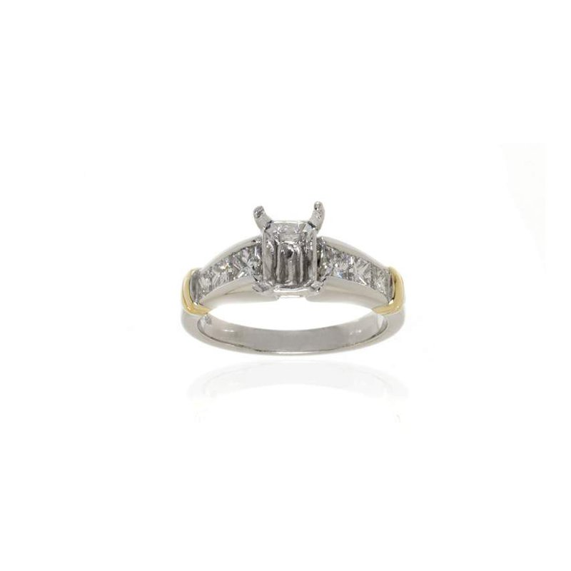 Platinum and 18K Gold, Diamond Semi-Mount Engagement Ring