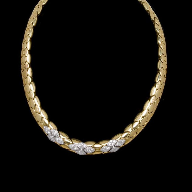 18K Yellow Gold and Diamond Leaf Style Necklace