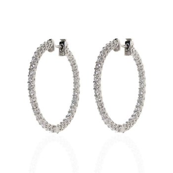 14K White Gold and Diamond Inside Out Hoop Earrings