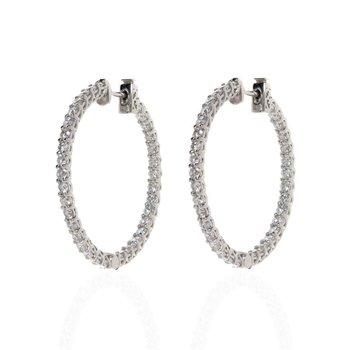 14K White Gold and Diamond Inside Out Hoop Earrings