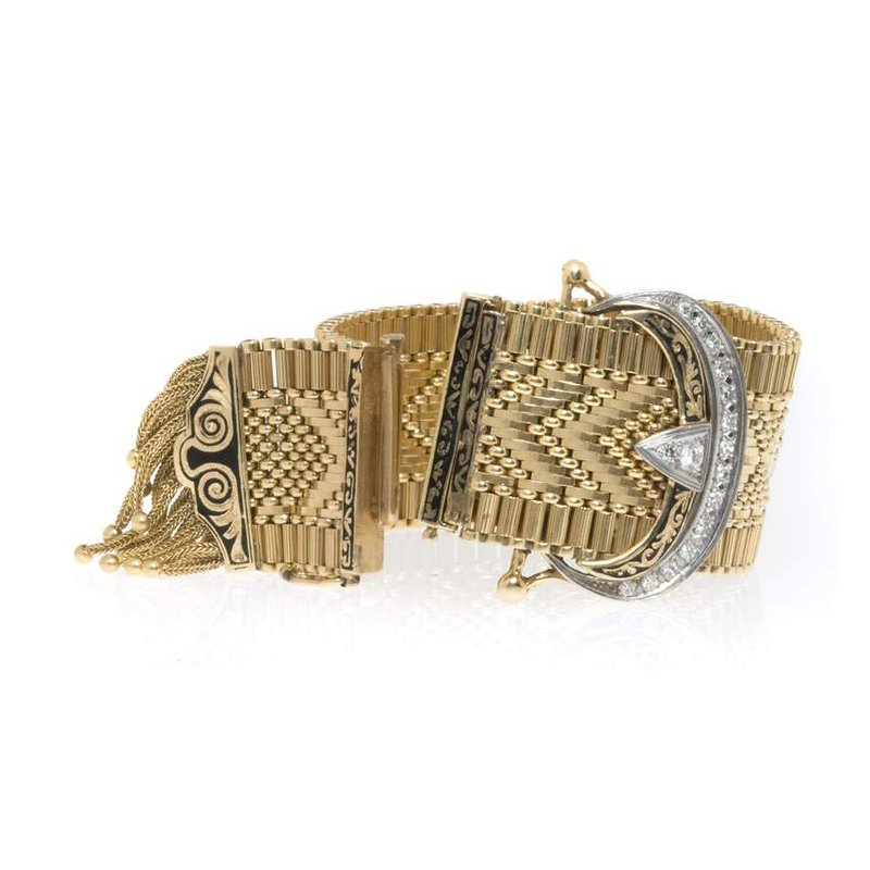 14K Two-Tone Gold and Diamond Mesh Vintage Watch