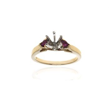 14K Yellow Gold and Ruby Semi-Mount Engagement Ring