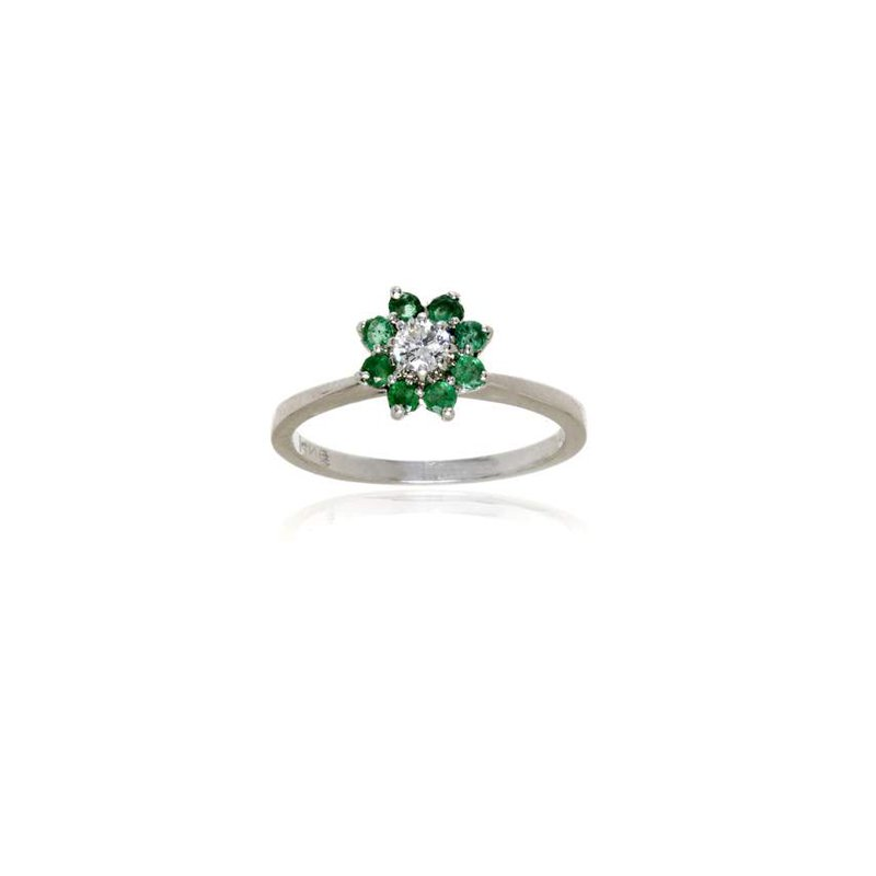 14K White Gold Diamond and Emerald Cluster Style Ring