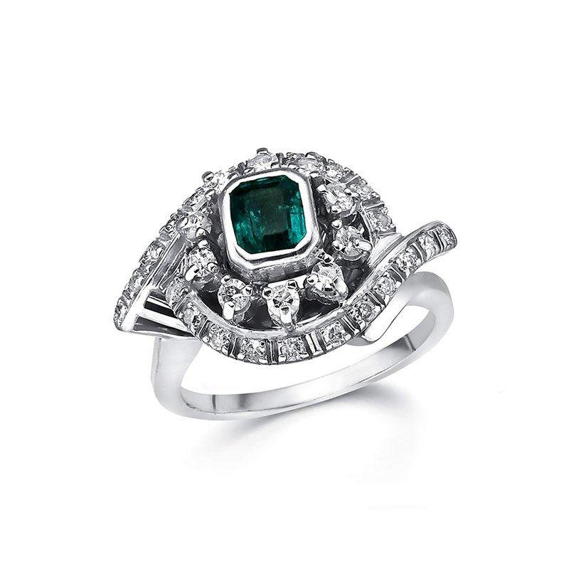18K White Gold Diamond and Natural Emerald Ring