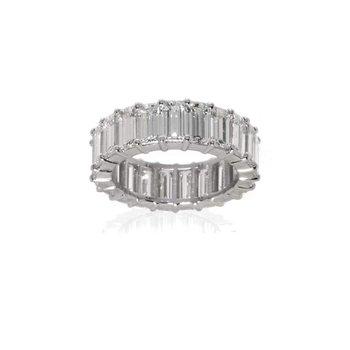 Platinum, Emerald Cut Diamond Wedding Band