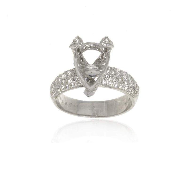 18K White Gold and Diamond Semi-Mount Engagement Ring