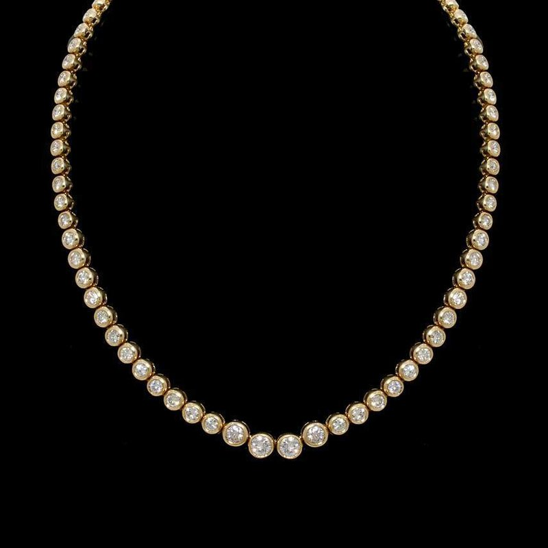 14K Yellow Gold and Diamond Tennis Necklace