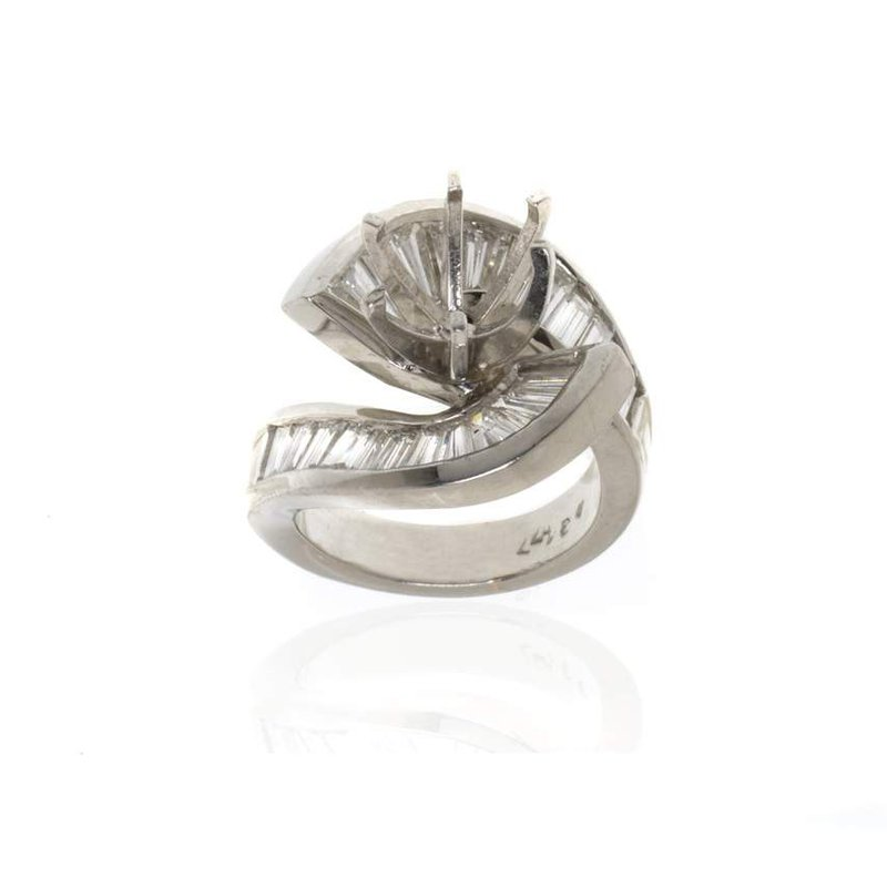 Platinum and Diamond Swirl Semi-Mount Engagement Ring