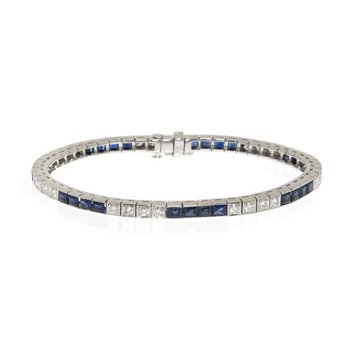 Platinum, Diamond and Sapphire Tennis Bracelet