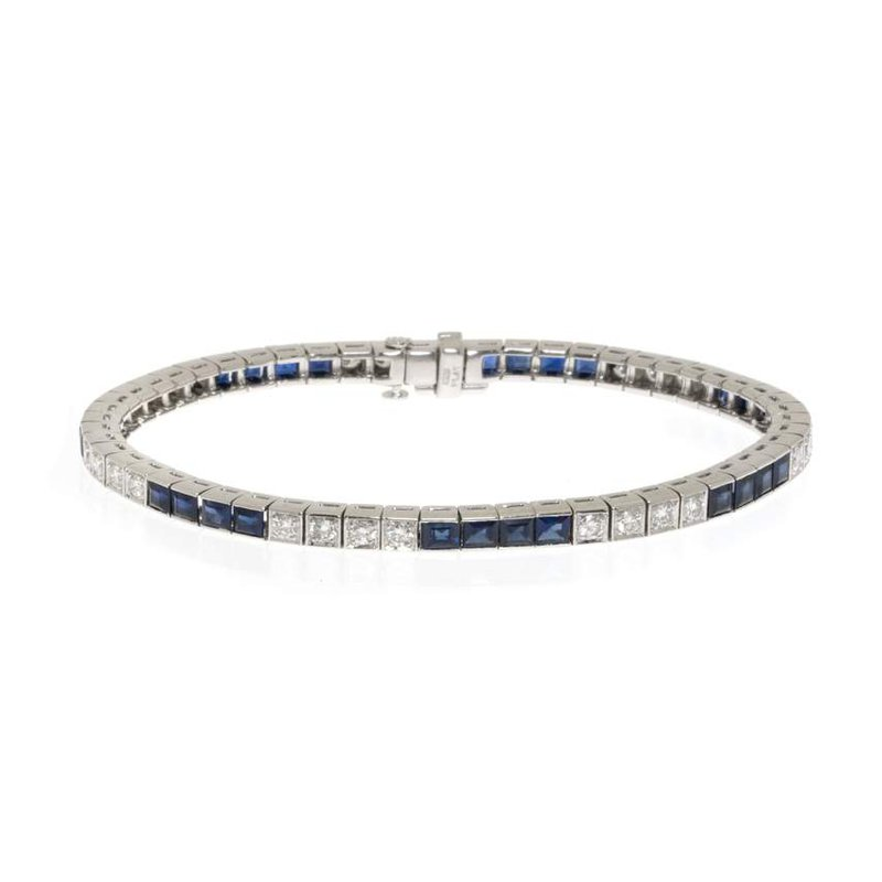 Platinum, Diamond and Sapphire Tennis Bracelet