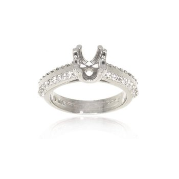 18K White Gold and Diamond Semi-Mount Engagement Ring