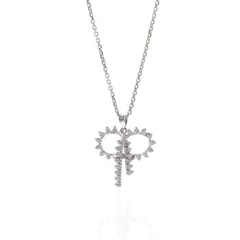 14K White  Gold and Diamond Ribbon Style Pendant