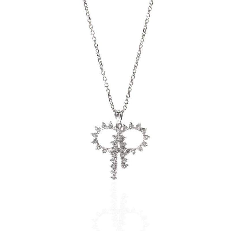 14K White  Gold and Diamond Ribbon Style Pendant