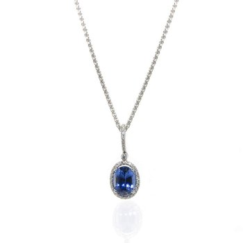 14K White Gold Natural Ceylon Sapphire and Diamond Necklace