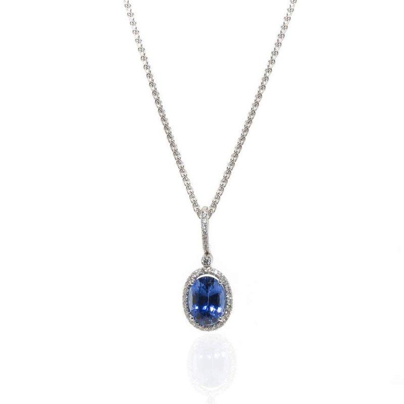 14K White Gold Natural Ceylon Sapphire and Diamond Necklace
