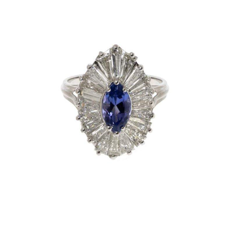 14K White Gold  Diamond and Tanzanite Ring