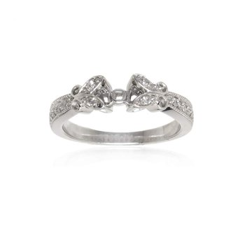 14K White Gold and Diamond Semi-Mount Engagement Ring
