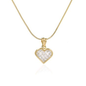 14K yellow Gold and Diamond Heart Shaped Necklace