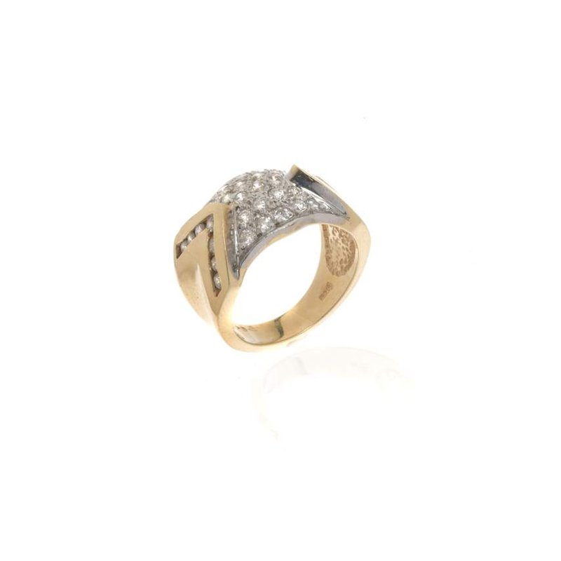 14K Two Tone Gold and Diamond Cocktail Ring