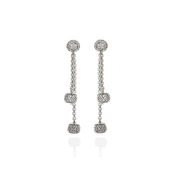 Platinum and Diamond Dangling Ball Earrings