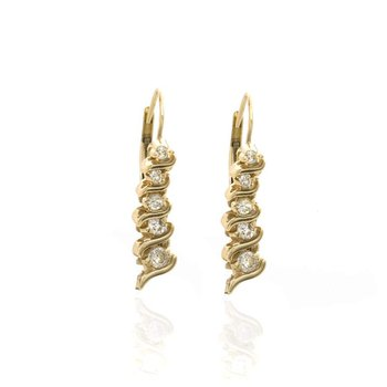 14K  Yellow Gold and Diamond Graduated Earrings