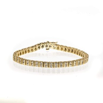 14K Yellow Gold and Double Row Diamond Tennis Bracelet
