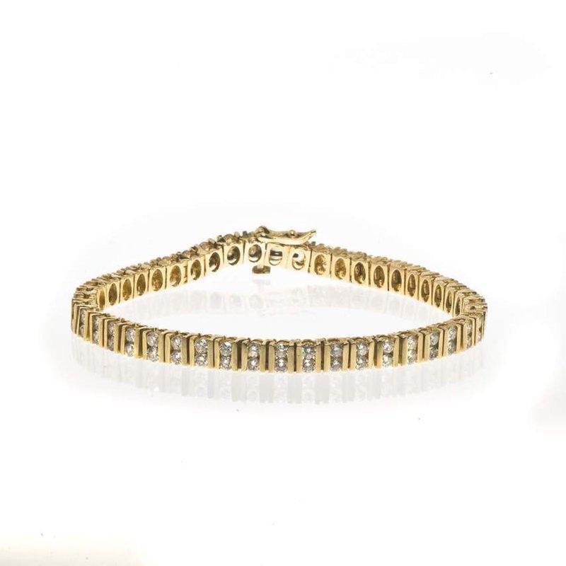 14K Yellow Gold and Double Row Diamond Tennis Bracelet
