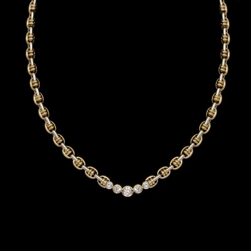 14K Two-Tone Gold and Diamond Necklace