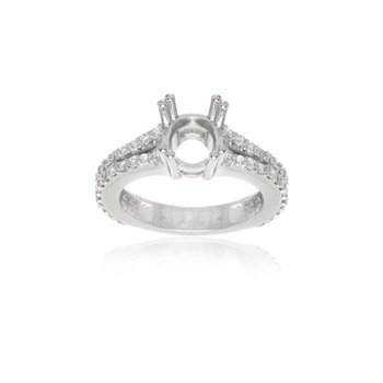 14K White Gold and Diamond Semi- Mount Engagement Ring