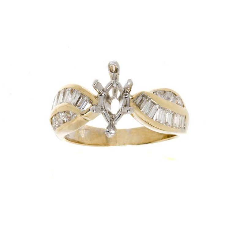 14K Two-Tone Gold and Diamond Semi-Mount Engagement Ring