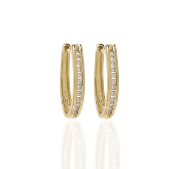 14K Yellow Gold and Diamond Hoop Earrings